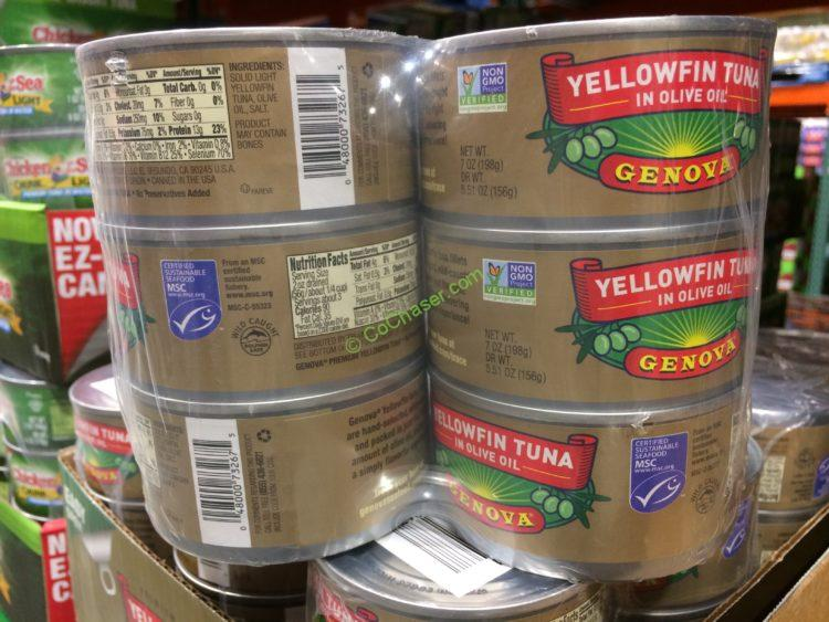 Genova Yellowfin Light Tuna in Oil 6/7 Ounce Cans