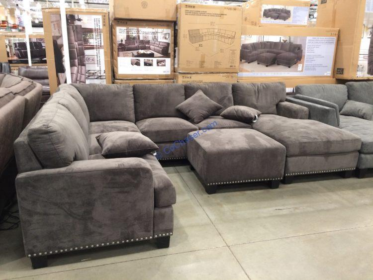 Bainbridge Fabric Sectional with Ottoman, Model#COU3782V-03-4PCSET-K