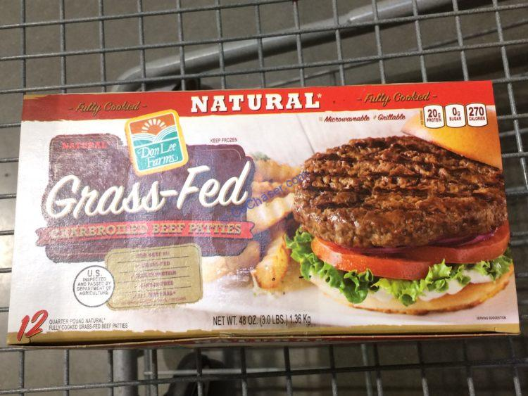 Don LEE farms Grass Fed Beef Patties 3 Pound Box