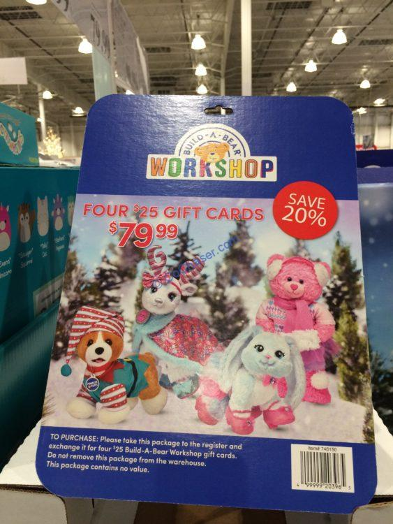 Build-A-Bear Workshop Four $25 eGift Cards