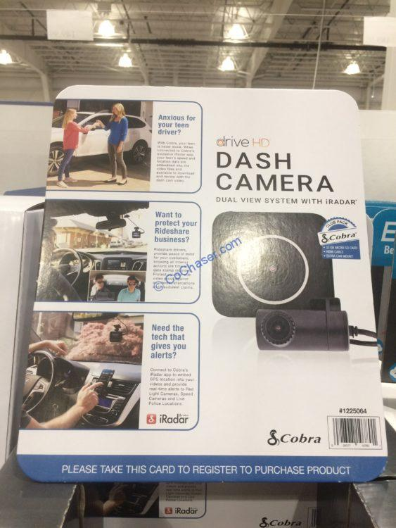 Cobra Electronics Drive HD Dual View Dash Camera with iRadar Kit