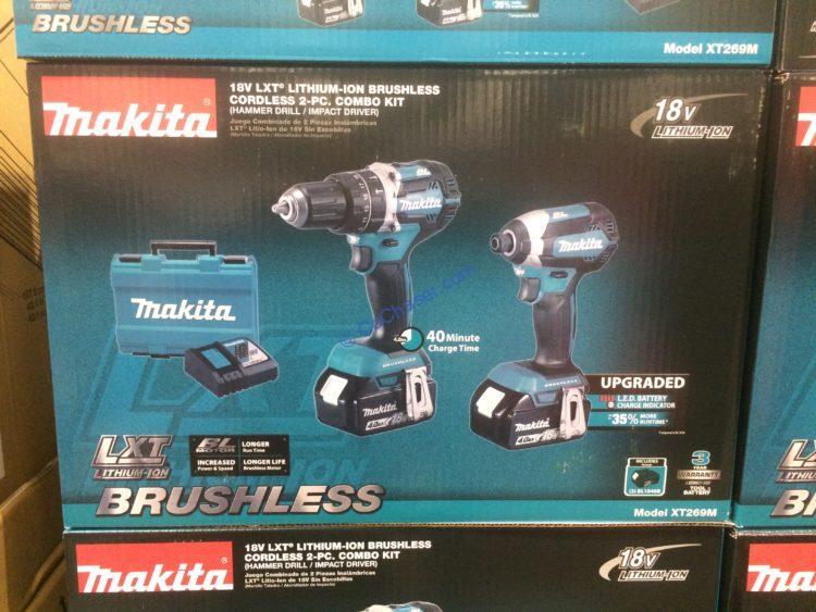Makita 18V Li-ION Cordless Brushless 2-PC COMBO Kit, Model#XT269M