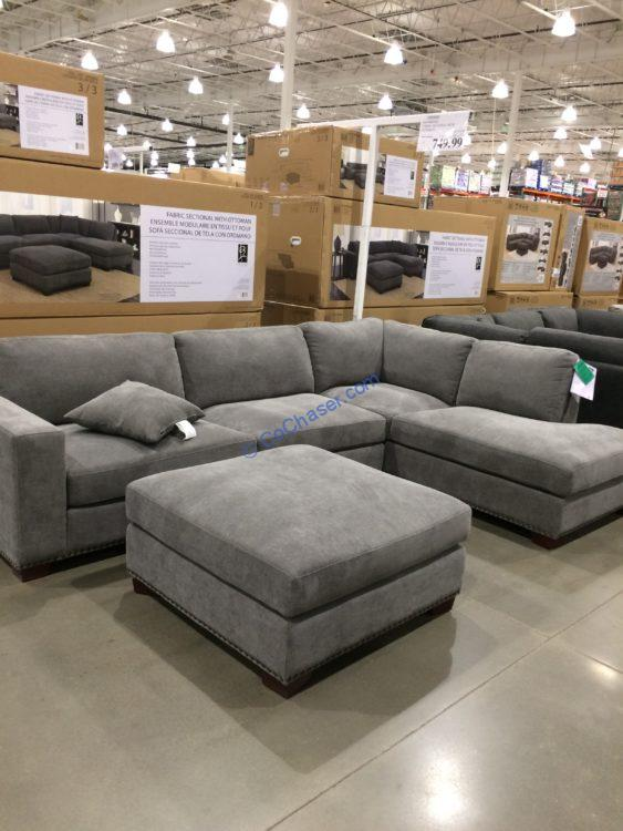 Bainbridge Fabric Sectional with Ottoman, Model#COU4357-03-3PCSET-K