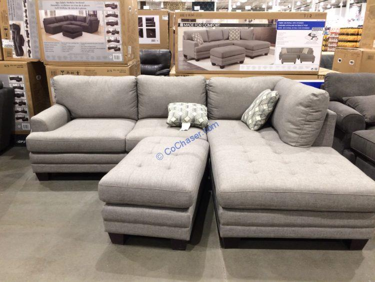 True Innovations Fabric Sectional with Ottoman