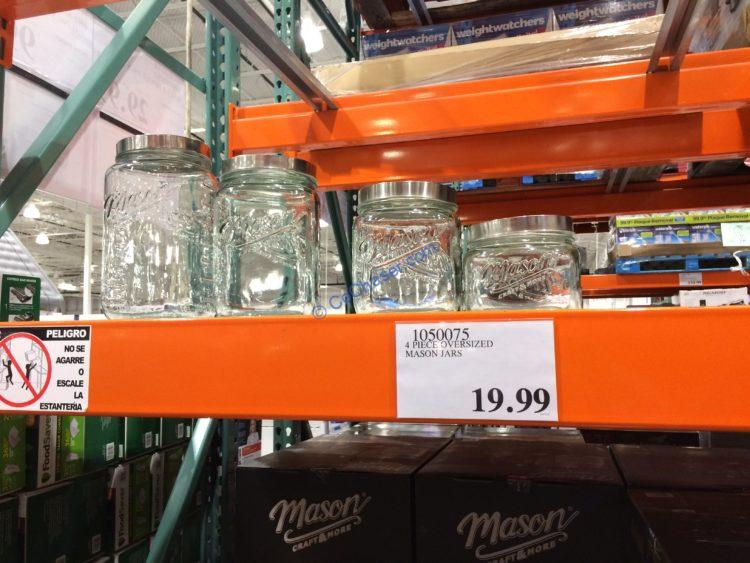 Four Piece Oversized Mason Jars