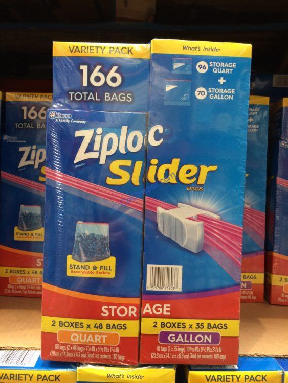 Ziploc Slider Storage Bag, Variety Pack, 166-count 70Gal 96QT