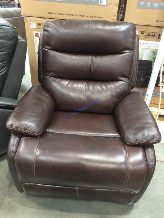 Simon Li Leather Power Recliner with Power Headrest
