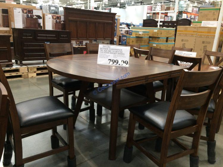 Bayside Furnishings 7PC Counter Height Square to Round Dining Set, Model#CSC7PCHD-1N