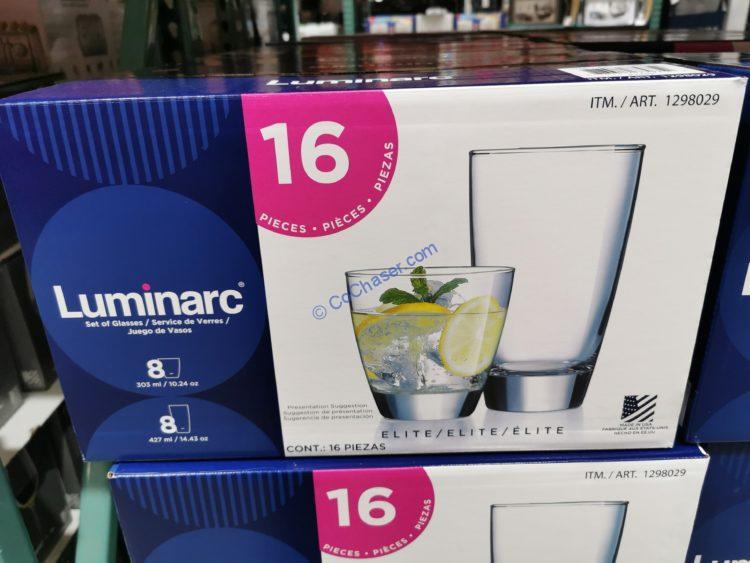 Luminarc Elite Glass Drinkware 16 Piece Set