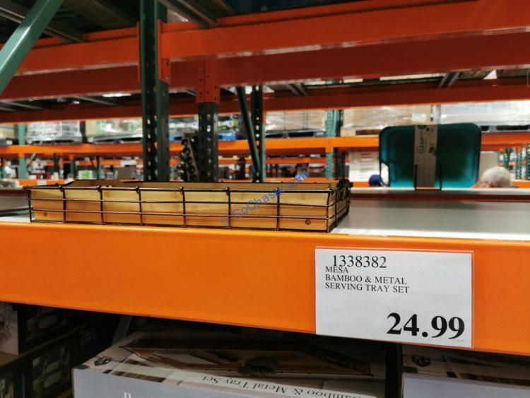 MESA Bamboo & Metal Serving Tray Set