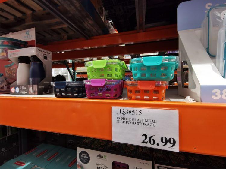 ELLO 10 Piece Glass Metal Prep Food Storage