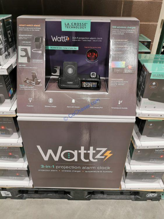 La Crosse Wattz Projection Alarm Clock Wireless Charging