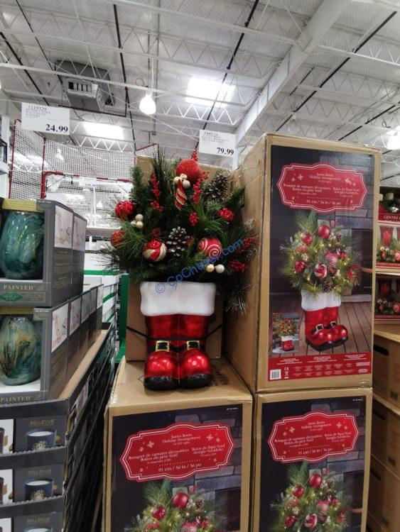 """36"""" Santa Boots Holiday Arrangement with 35 LED Lights"""