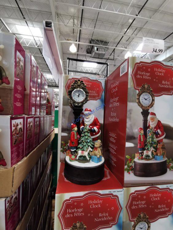 Holiday Clock Santa with Red Tree