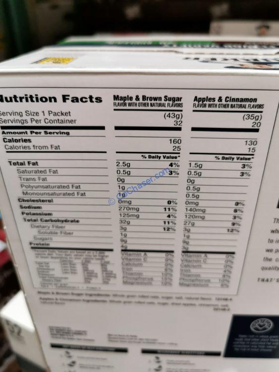 Quaker-Oats-Instant-Oatmeal-chart