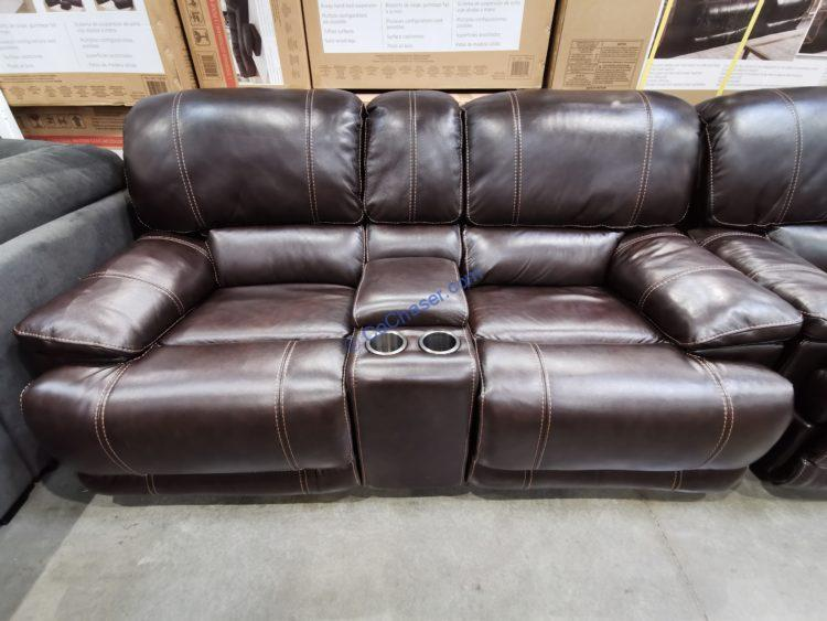 Leather Power Reclining Loveseat with Power Headrest