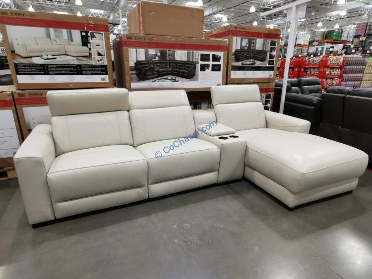 Leather Power Reclining Sectional with Console