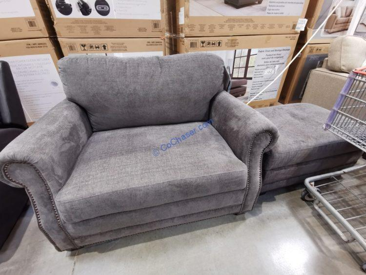Fabric Accent Chair with Storage Ottoman