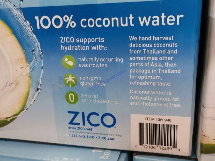 Costco 1369946 Zico Natural 100 Coconut Water Gen Costcochaser