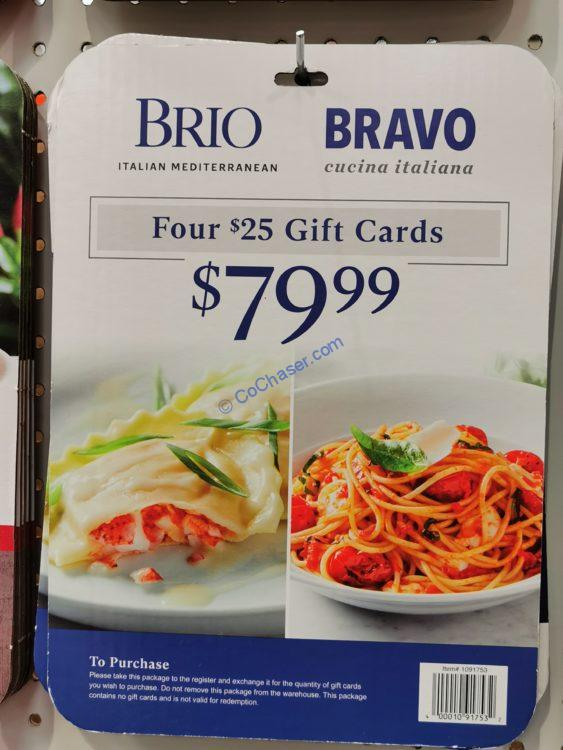 Bravo Brio Restaurants Gift Cards, Four $25 Gift Cards