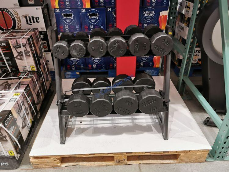 CAP Barbell 200 LB. Dumbbell Set with Rack, Model# SDR6BS-200R-US