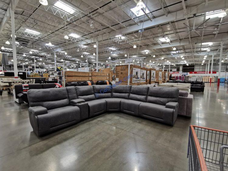 Fabric Reclining Power Sectional with Power Headrests