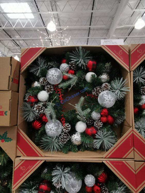 """30"""" Red and Silver Decorated Wreath"""