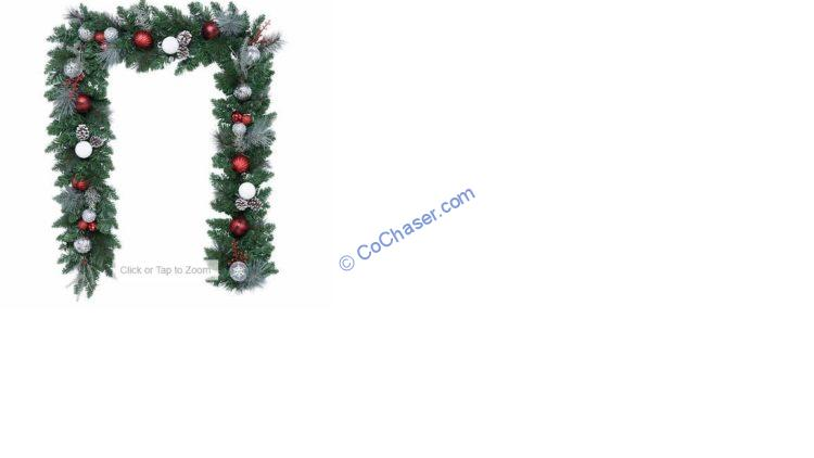 9' Red and Silver Decorated Garland with 90 LED Lights