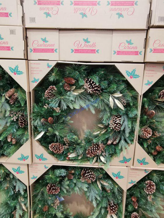 """32"""" Greenery Wreath with 50 Dual Color LED Lights"""