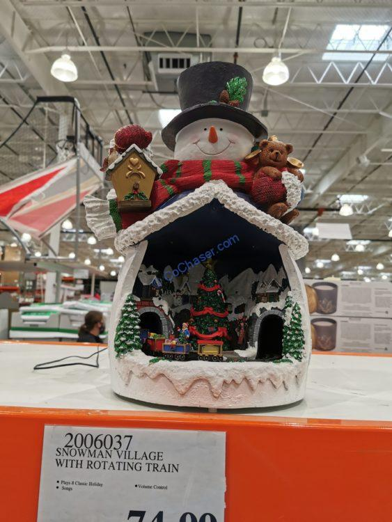Snowman Village with Rotating Train