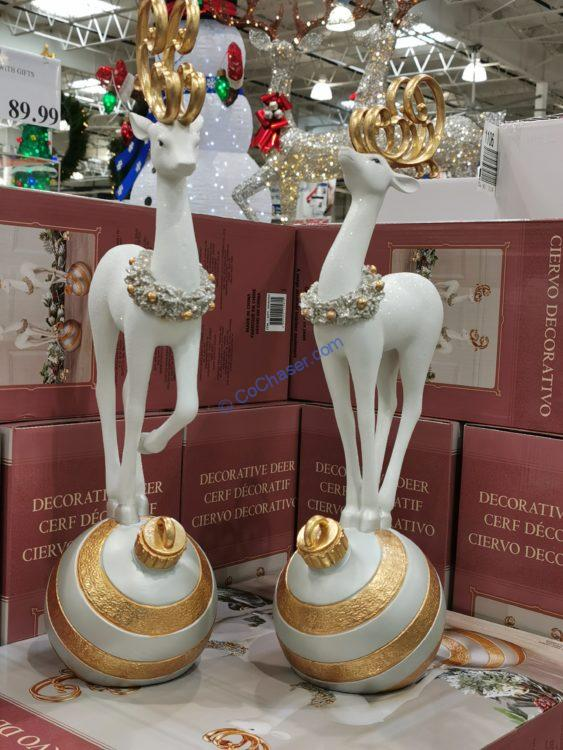 Holiday Deer on Ornament, Set of 2