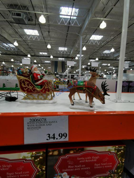 Hand-Painted Santa with Sleigh and Reindeer