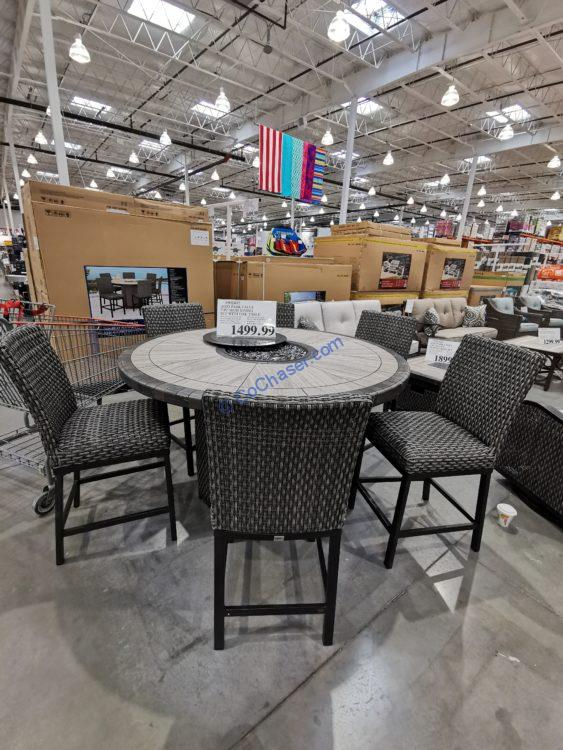AGIO Park Falls 7PC High Dining Set with Fire Table