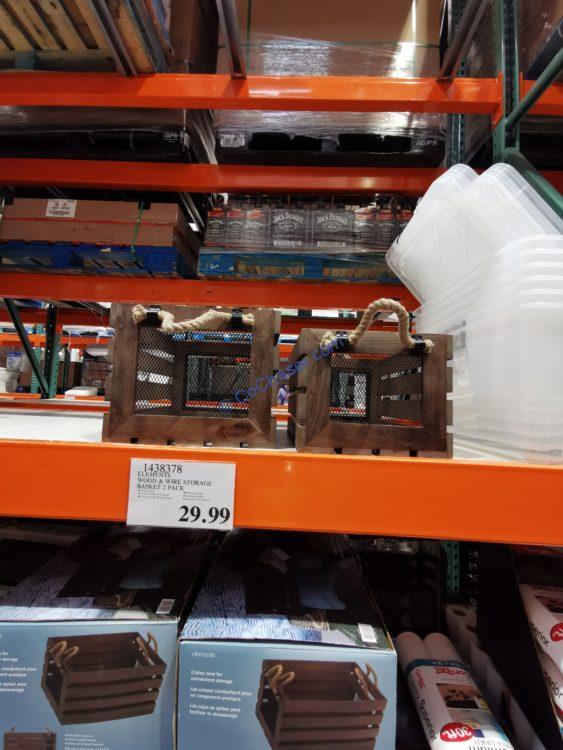 Elements Wood & Wire Storage Basket, 2-pack Set