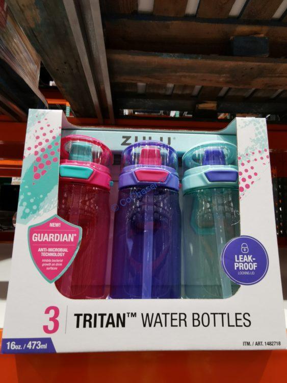 Zulu Flex Tritan Plastic 16oz Water Bottle Set, 3-pack