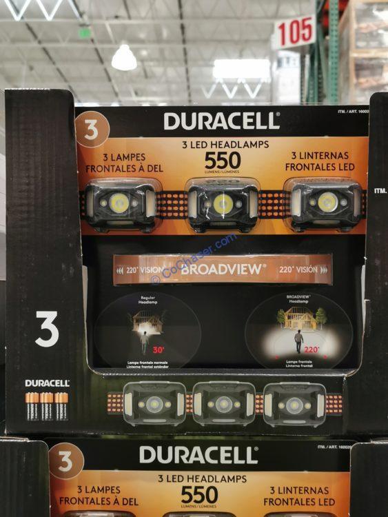 Duracell Broadview 550 Lumen Head Lamp 3-Pack