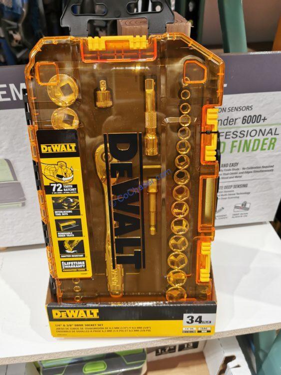 "Dewalt ¼"" and 3/8"" 34 PC Drive Socket Set"