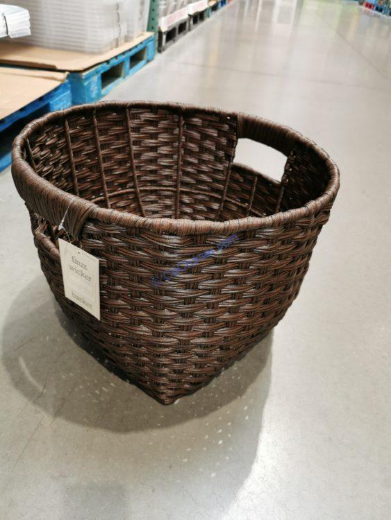 Faux Wicker Basket with Handles