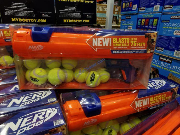 """Nerf Dog 20"""" Blaster Dog Toy + 12 Squeak Tennis Balls"""