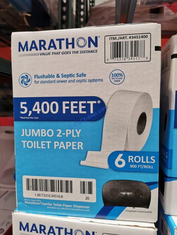 Marathon Giant Roll Bath Tissue, 2-Ply, 6/900 ft Rolls