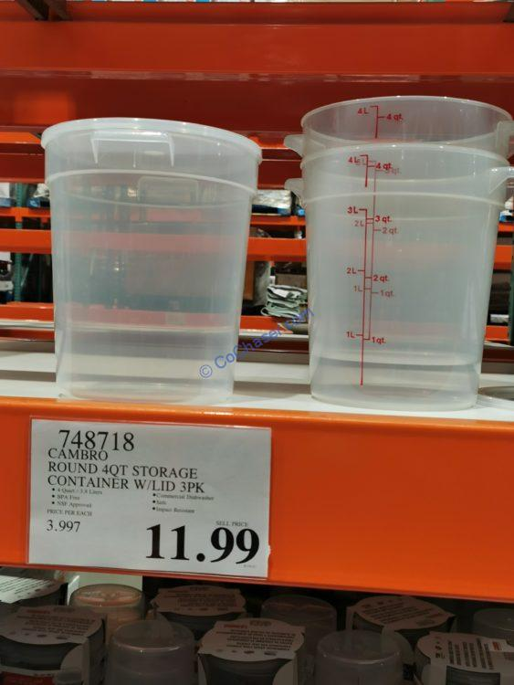 Cambro Round 4 QT Food Storage Container with Lid, 3 pk